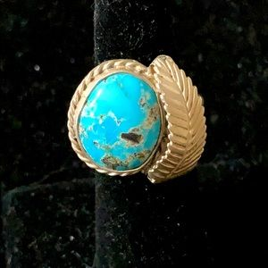 """NAVAJO ring vintage TURQUOISE & FEATHER 6"""" guc"""